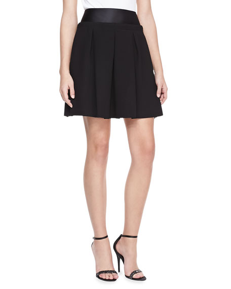 Pleated Satin-Waist Skirt, Black