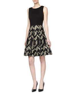 Badgley Mischka Geo Crepe & Ponte Day Dress