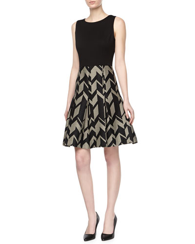 Badgley Mischka Geo Crepe & Ponte Day Dress
