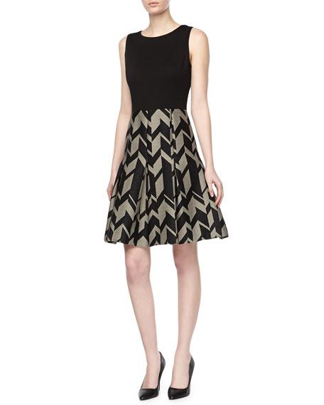 Geo Crepe & Ponte Day Dress