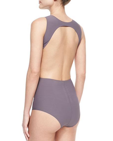 Open-Back Cutout One-Piece Swimsuit, Mauve