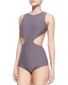 Rick Owens Open-Back Cutout One-Piece Swimsuit, Mauve