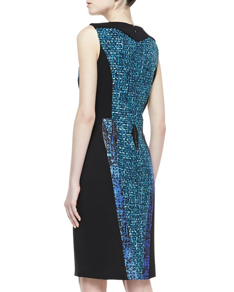 Sleeveless Contrast Sheath Dress, Black/Aquamarine