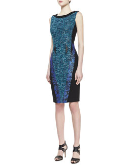 Badgley Mischka Sleeveless Contrast Sheath Dress, Black/Aquamarine