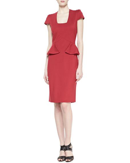 Cap Sleeve Peplum Cocktail Dress, Scarlet