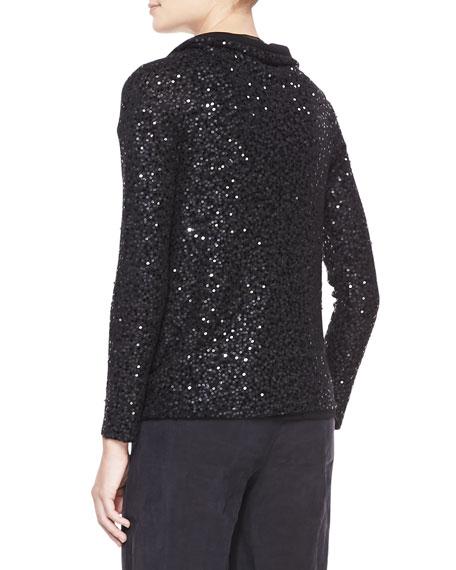 Asymmetric Sequined Cashmere Top, Black
