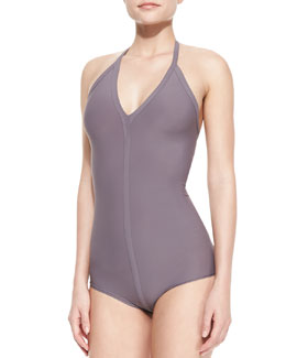 Rick Owens One-Piece Seamed Halter Swimsuit, Mauve