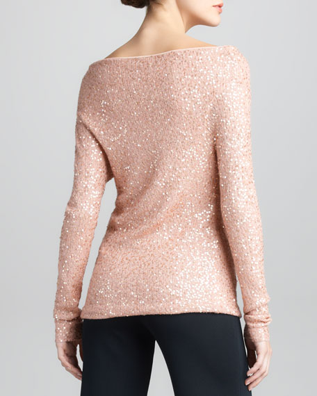 Asymmetric Sequined Cashmere-Silk Top