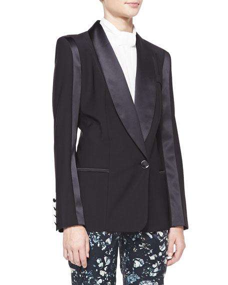 Satin-Trim Wool-Blend Blazer, Black
