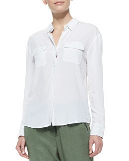 AG Adriano Goldschmied Sway Long-Sleeve Collared Blouse