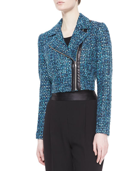 Tweed Cropped Biker Jacket