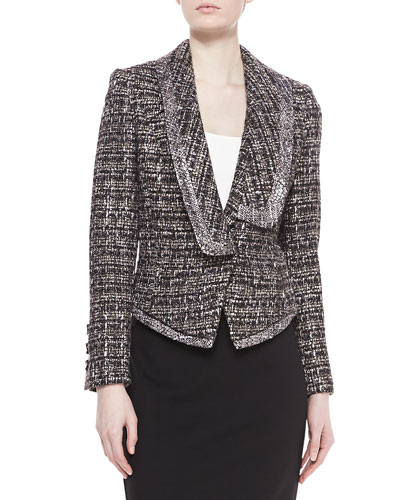 Badgley Mischka Tweed Combo Jacket, Smoke
