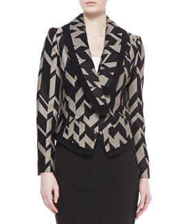 Badgley Mischka Geometric Crepe Jacket