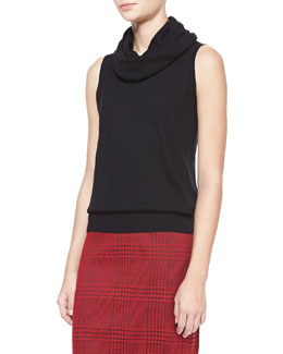 Badgley Mischka Cowl-Neck Knit Sweater, Black
