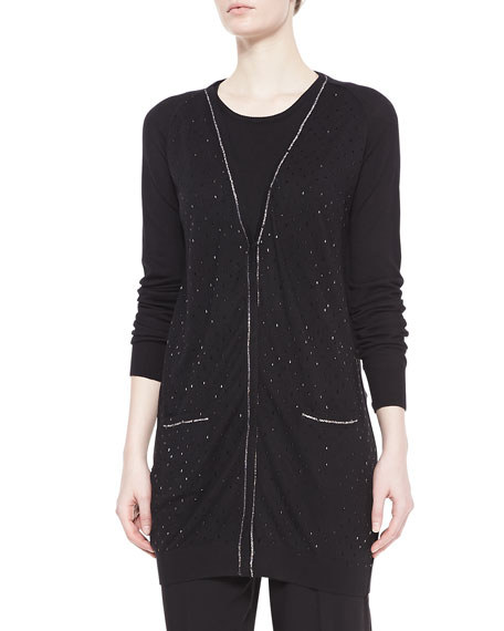 Shimmery Long Cardigan Sweater, Black