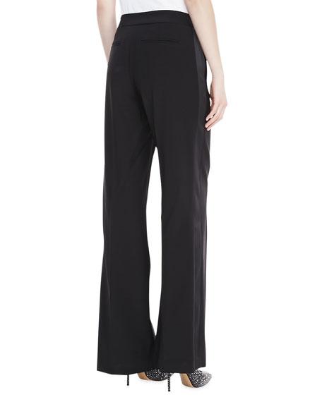 Wool Satin-Trim Pants, Black