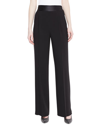 Badgley Mischka Satin Crepe Pants, Black