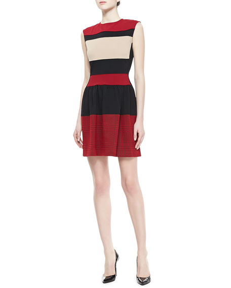 Sleeveless Banded Day Dress, Red/Black/Beige