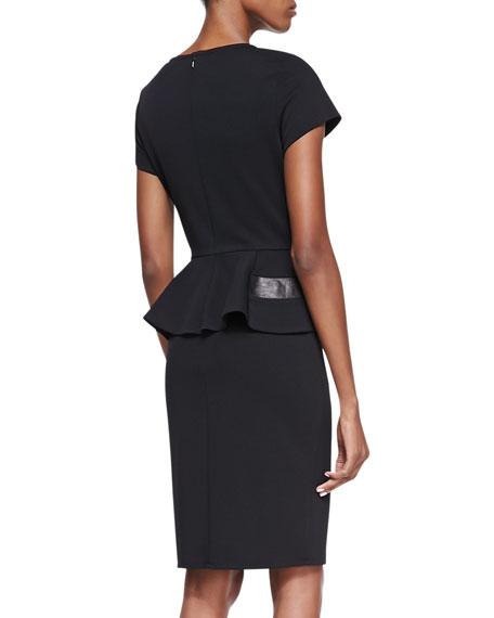Short-Sleeve Peplum with Leather Cocktail Dress