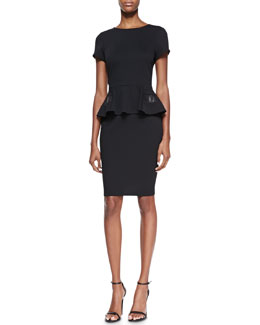 Badgley Mischka Collection Short-Sleeve Peplum with Leather Cocktail Dress