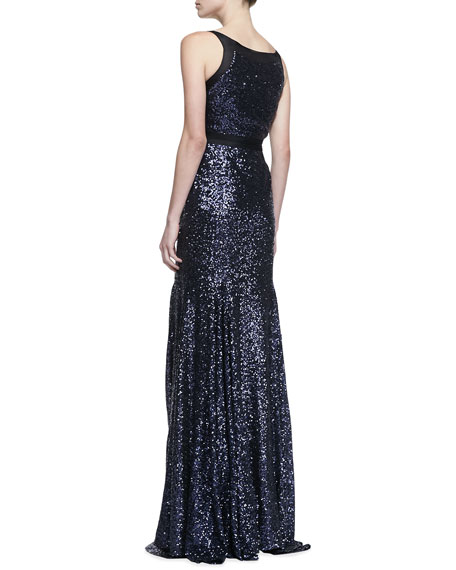 Sleeveless Sequin V-Neck Gown, Sapphire
