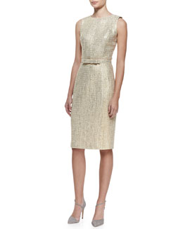 Badgley Mischka Collection Sleeveless Tweed Sheath Dress