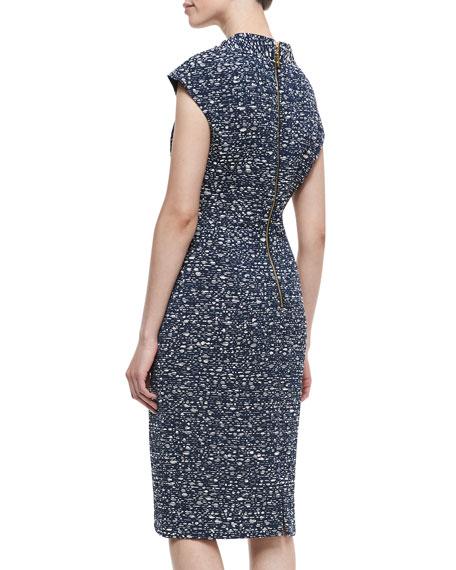Short Sleeve Bow Waist Sheath Dress, Navy