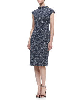 Badgley Mischka Collection Short Sleeve Bow Waist Sheath Dress, Navy