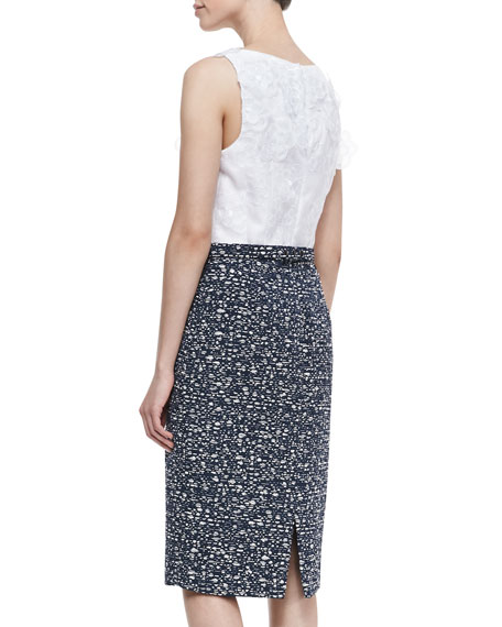 Sleeveless Floral Top Sheath Dress, White/Navy