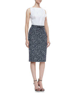 Badgley Mischka Collection Sleeveless Floral Top Sheath Dress, White/Navy