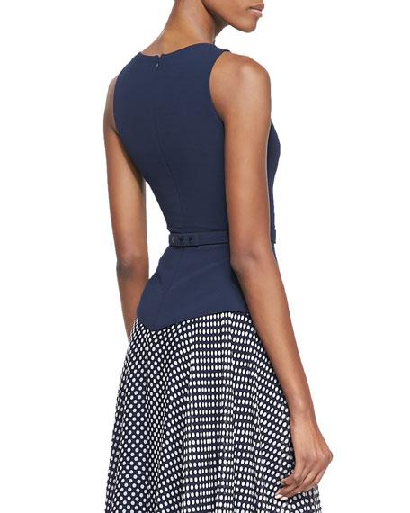 Sleeveless Belted Polka Dot Skirt Dress, Navy/White