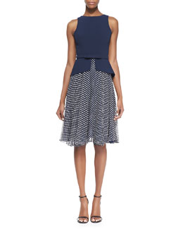 Badgley Mischka Collection Sleeveless Belted Polka Dot Skirt Dress, Navy/White