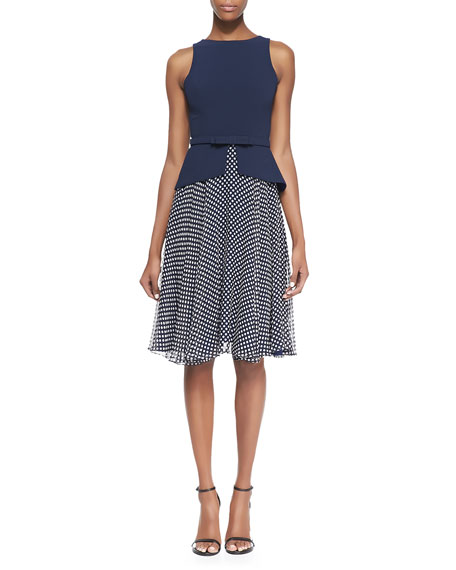 Sleeveless Belted Polka Dot Skirt Dress, Navy/White