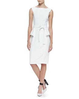 Badgley Mischka Collection Short-Sleeve Side Peplum Tie Belt Dress, Ivory
