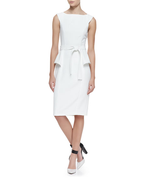 Short-Sleeve Side Peplum Tie Belt Dress, Ivory