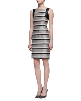 Carmen Marc Valvo Sleeveless Striped Leather-Accent Sheath Dress, Taupe/Black