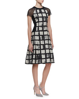 Carmen Marc Valvo Check-Pattern Short-Sleeve Dress