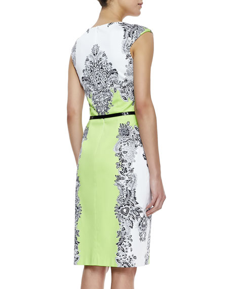 Baroque Print Belted Dress, Multicolor