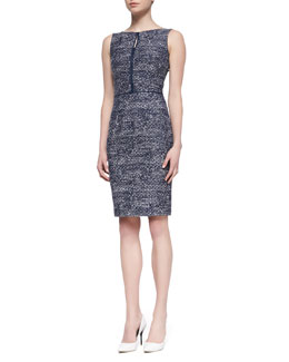 David Meister Sleeveless Tweed Sheath Dress, Navy/White