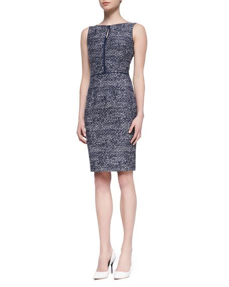 Sleeveless Tweed Sheath Dress, Navy/White