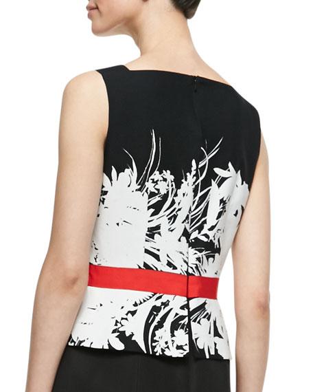 Floral-Bodice Sleeveless Sheath Dress