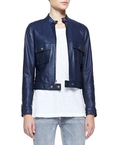 Leather Front-Zip Moto Jacket