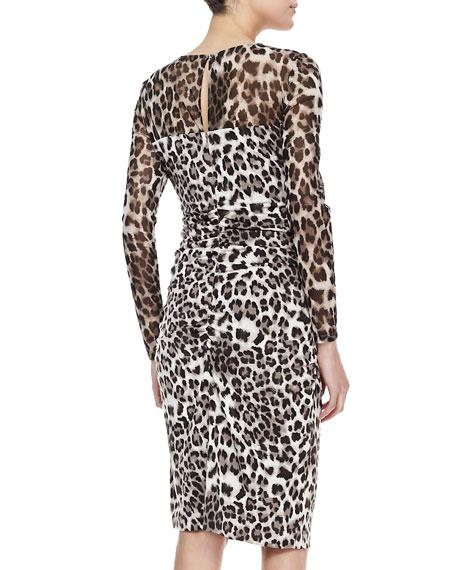 Long-Sleeve Mesh-Top Leopard-Print Dress, Brown/Snow