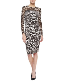 Kay Unger New York Long-Sleeve Mesh-Top Leopard-Print Dress, Brown/Snow