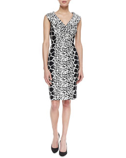 Kay Unger New York Mixed-Print Jacquard Shawl-Collar Dress