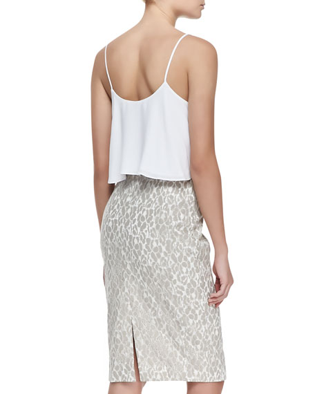 Genevieve Flutter-Top Sleeveless Dress