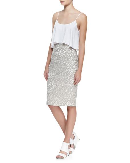 Genevieve Flutter-Top Sleeveless Dress