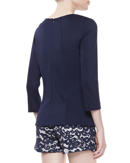 Long-Sleeve Seamed Ponte Top, Ink Blue