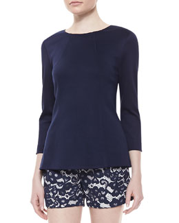 Shoshanna Long-Sleeve Seamed Ponte Top, Ink Blue