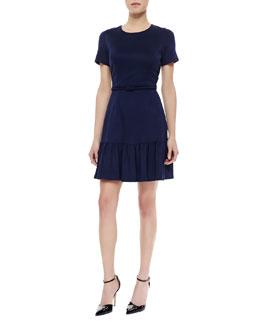 Shoshanna Belted Flounce-Hem Dress, Ink